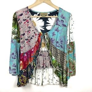 Sacred Threads Tie Front Cardigan Jacket M Floral